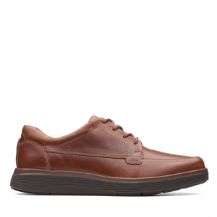 Clarks Mens Un Abode Ease Dark Tan Leather Shoes
